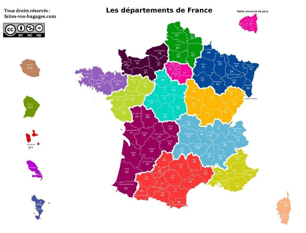 Carte Des Départements De France Métropolitaine Et Outre-Mer intérieur Carte De France Numéro Département