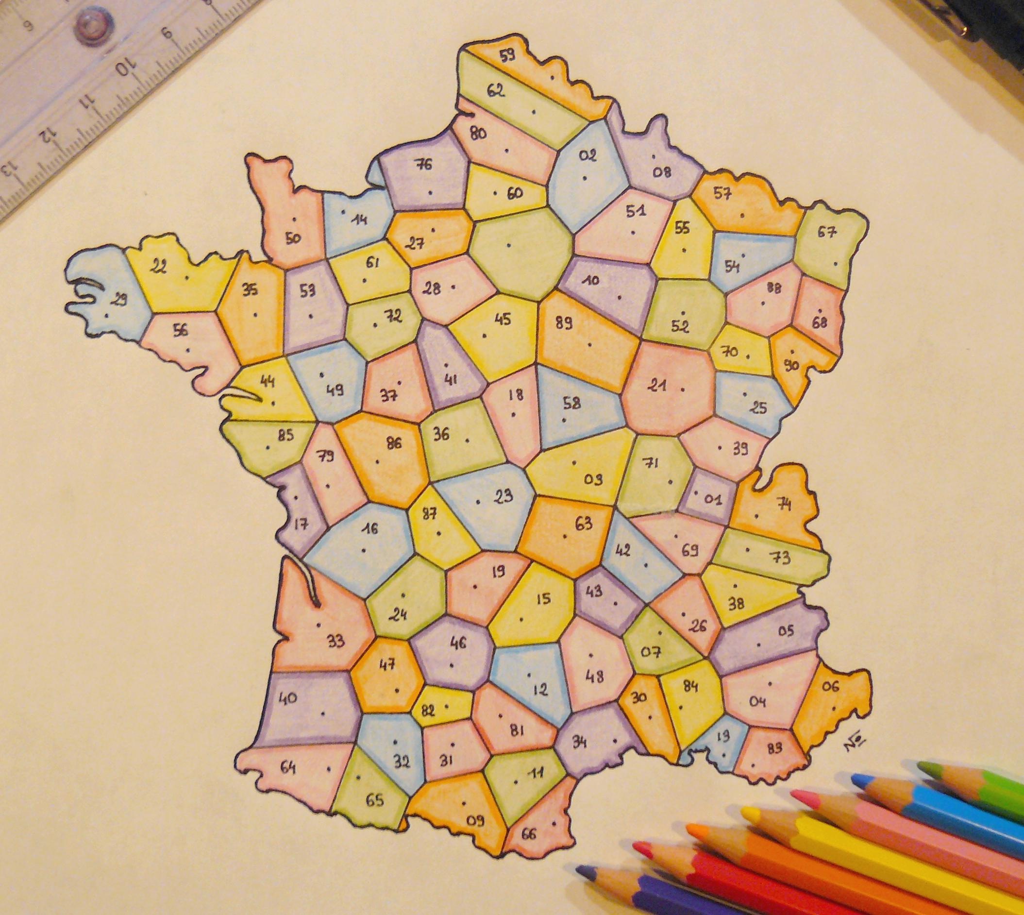 Carte Des Départements Français Selon Un Diagramme De destiné Carte De France Avec Départements Et Préfectures