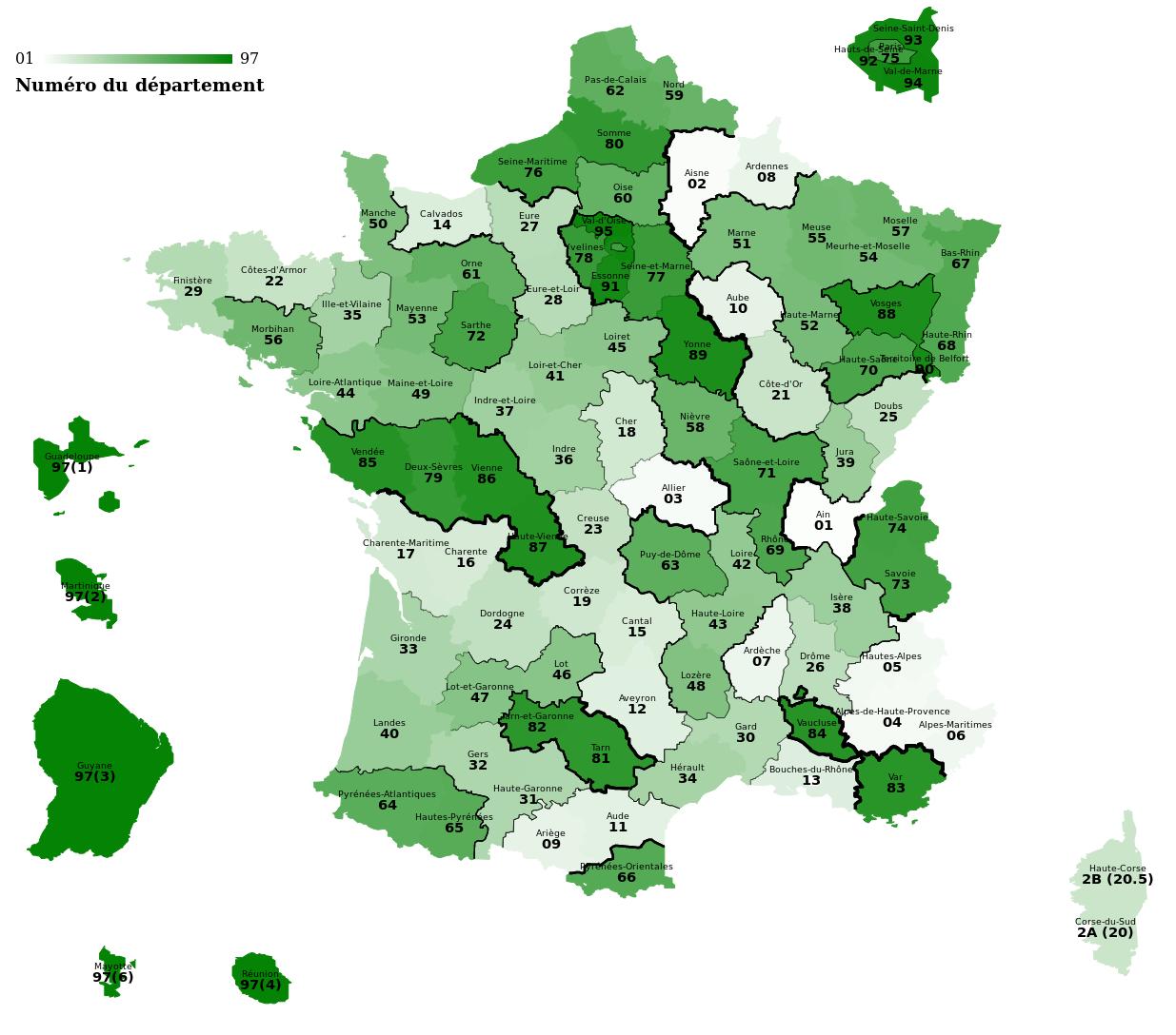 Carte Des Départements Suivant Leur Numéro, Et La Différence intérieur Numéro Des Départements