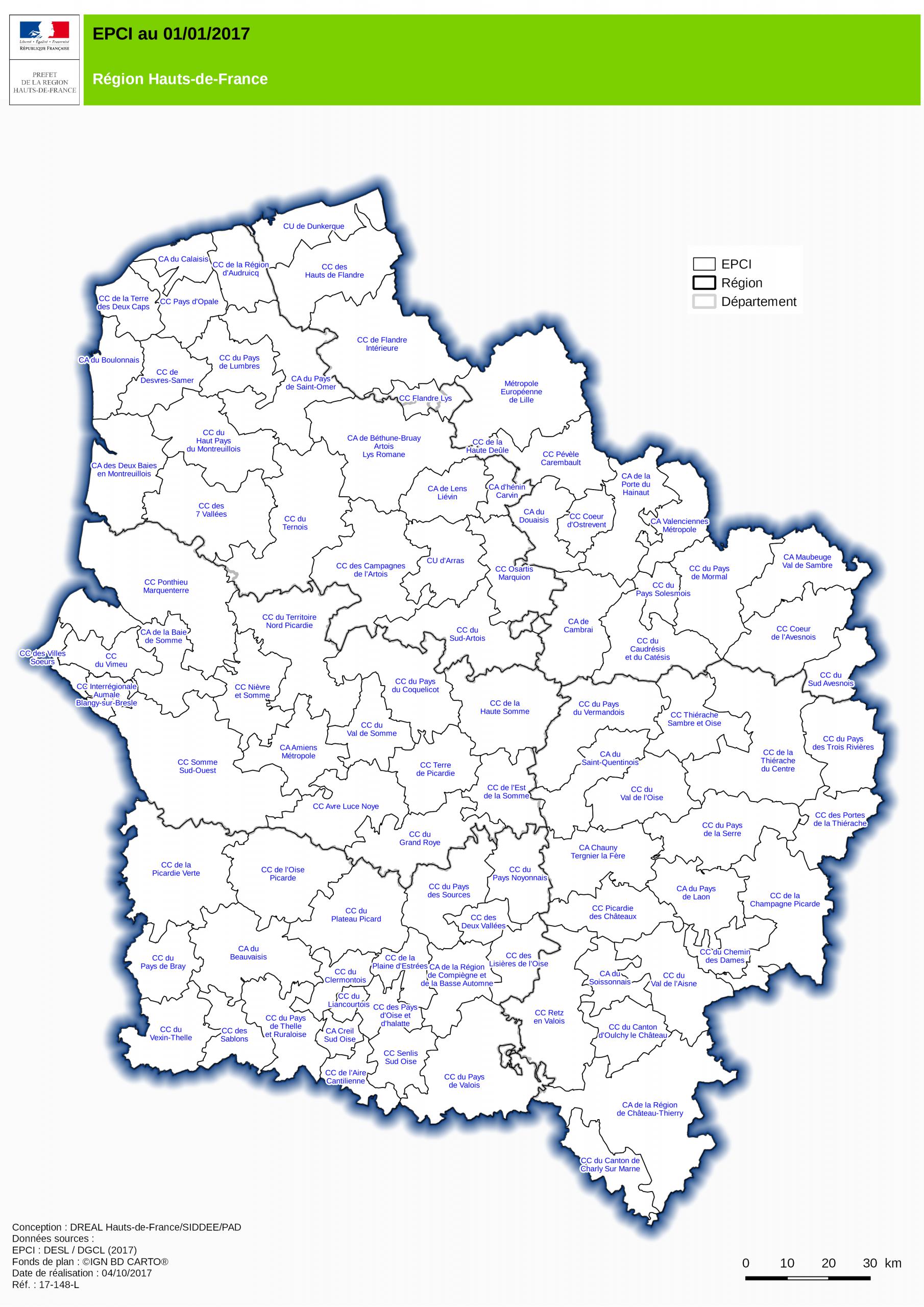 Carte Des Epci Au 01/01/2017 Dans Les Hauts-De-France. avec Carte Région France 2017