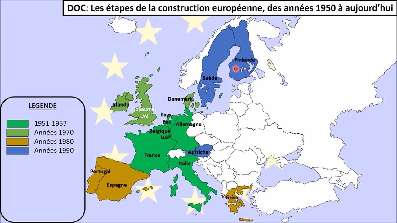 Carte Des Étapes De La Construction Européenne - avec Carte Construction Européenne