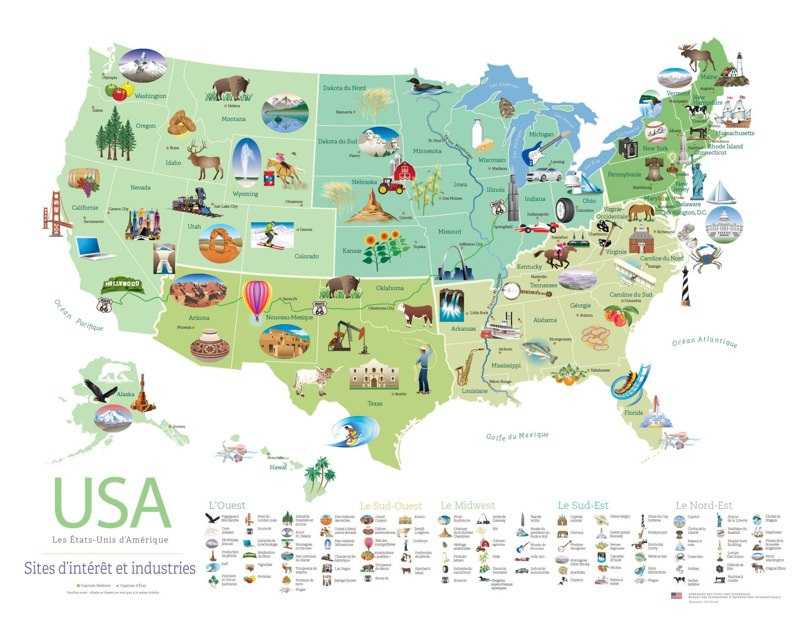 Carte Des États-Unis Avec Des Symboles Représentant Les pour Carte Avec Departement