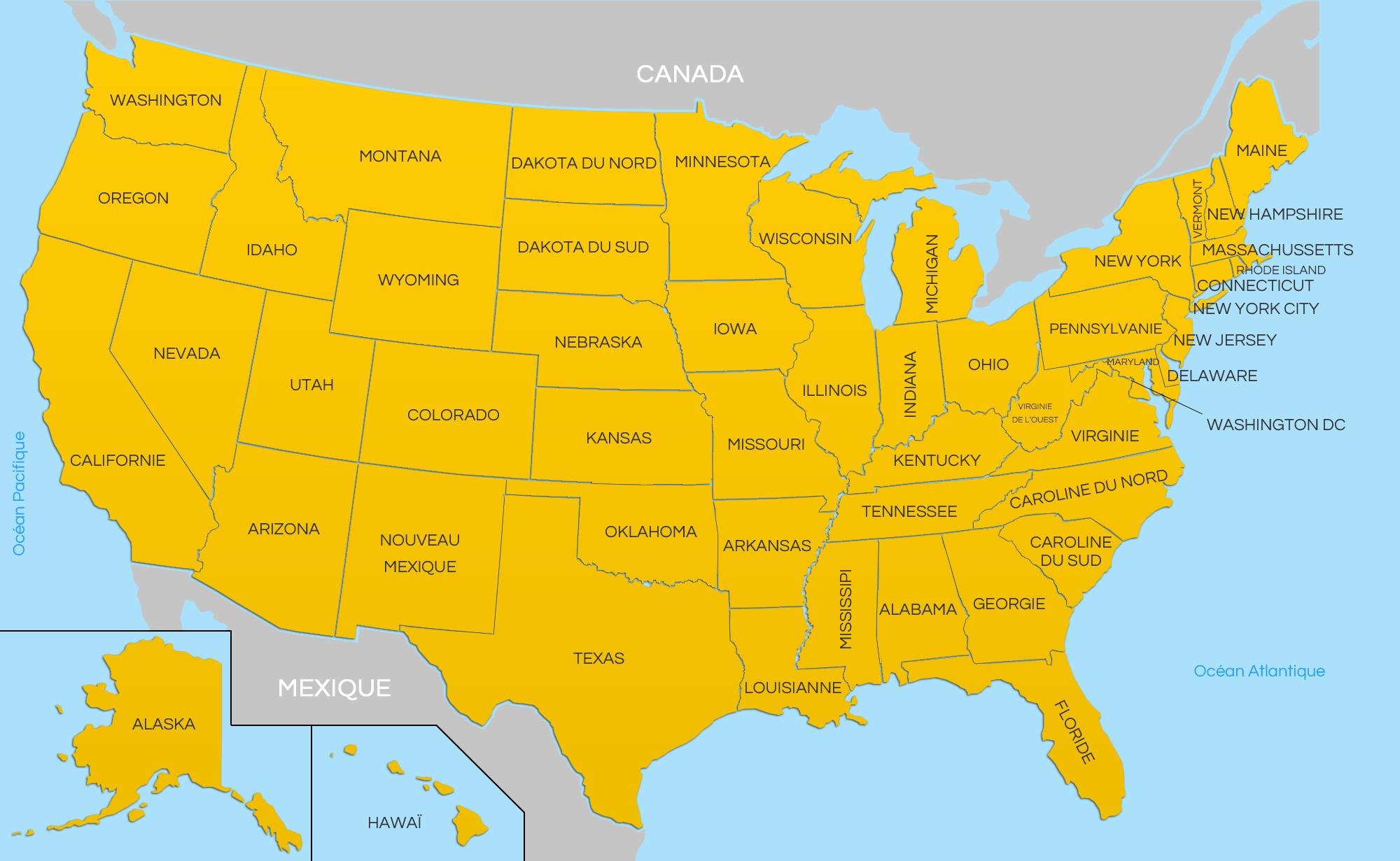 Carte Des Etats Unis - Carte Des Usa avec Carte Etat Amerique