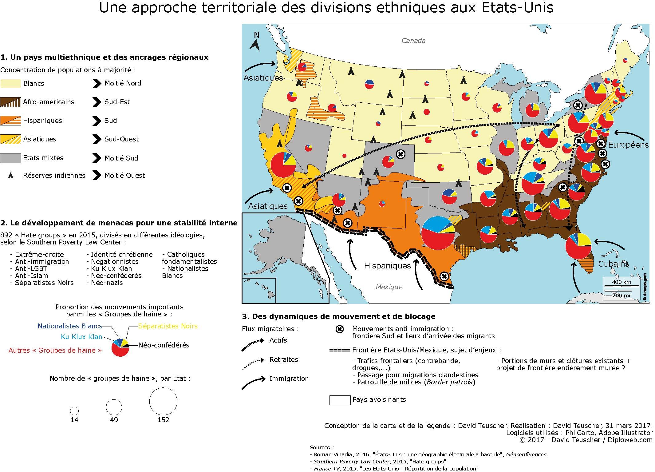 Carte Des Etats-Unis : Quelles Divisions Ethniques ? Menaces encequiconcerne Carte Etat Amerique