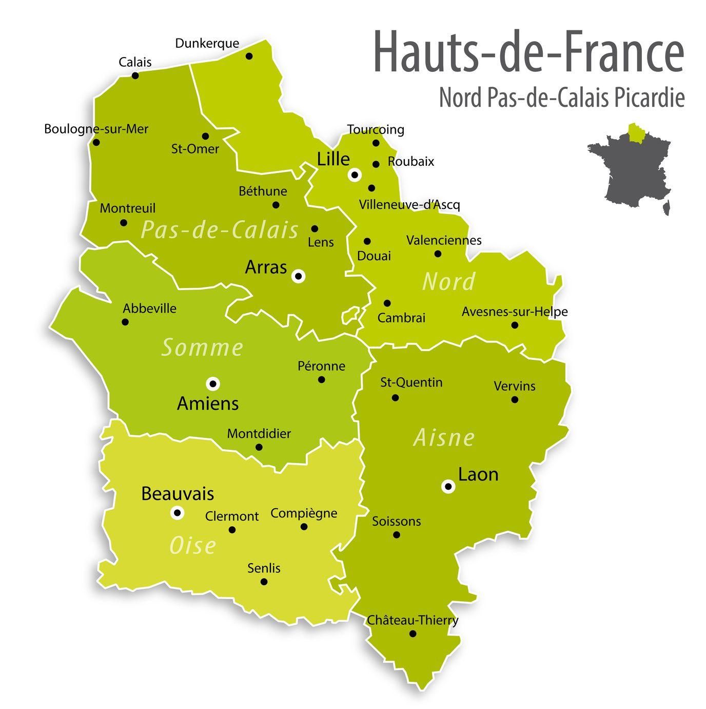 Carte Des Hauts-De-France - Hauts-De-France Carte Des Villes concernant Carte De France Des Régions Vierge