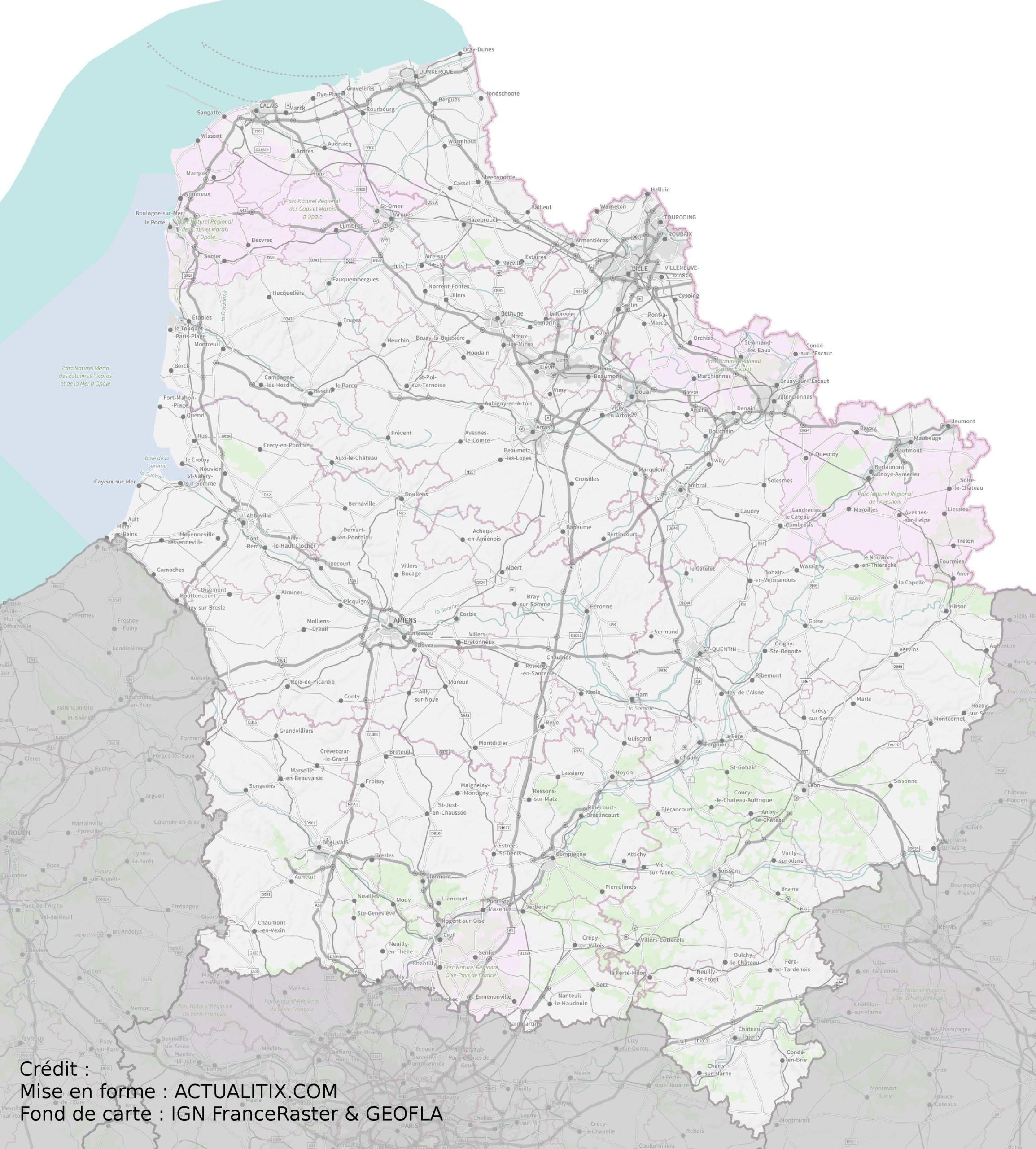 Carte Des Hauts-De-France - Hauts-De-France Carte Des Villes serapportantà Carte De France Des Départements À Imprimer