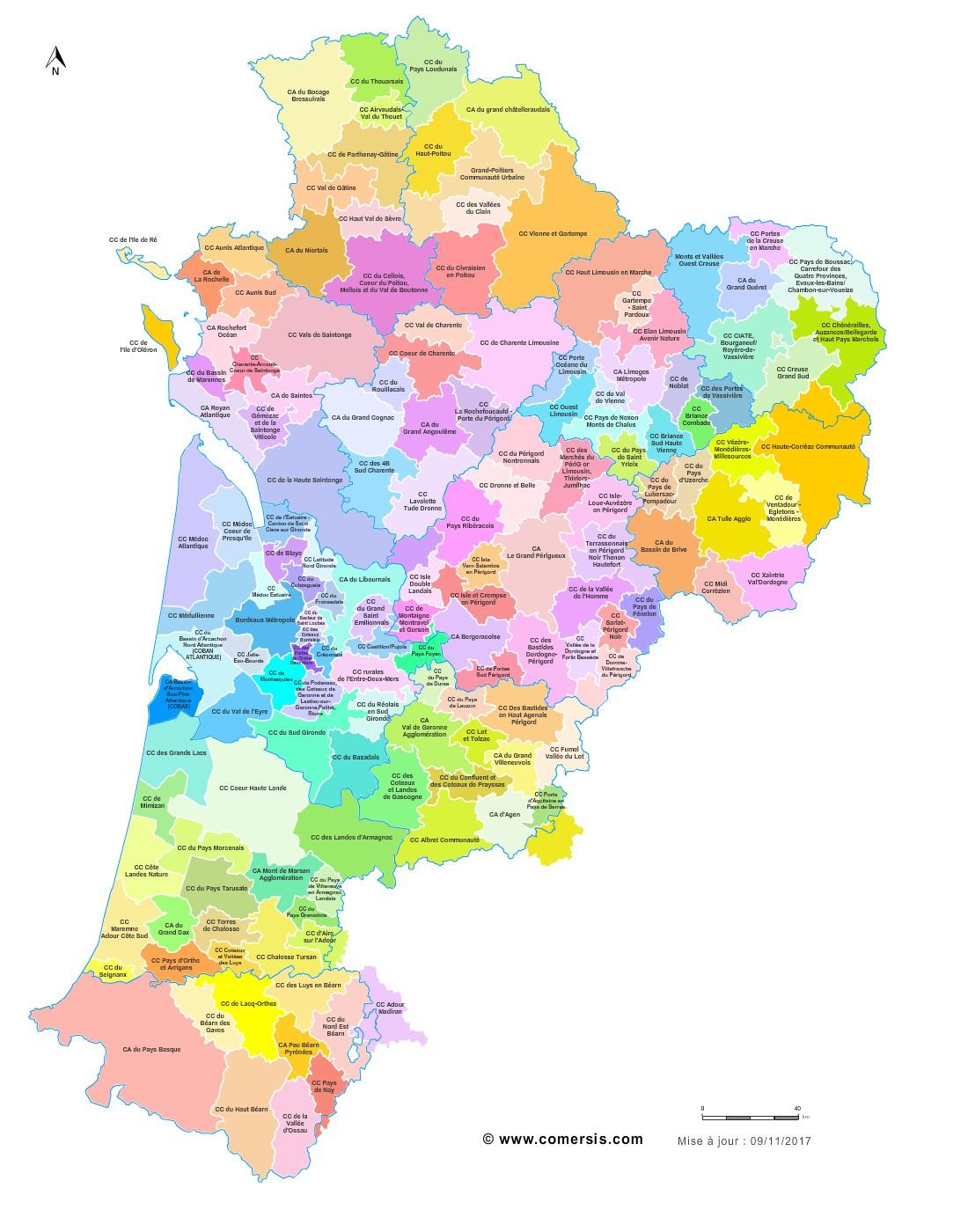 Carte Des Intercommunalités De Nouvelle-Aquitaine dedans Nouvelle Carte Region
