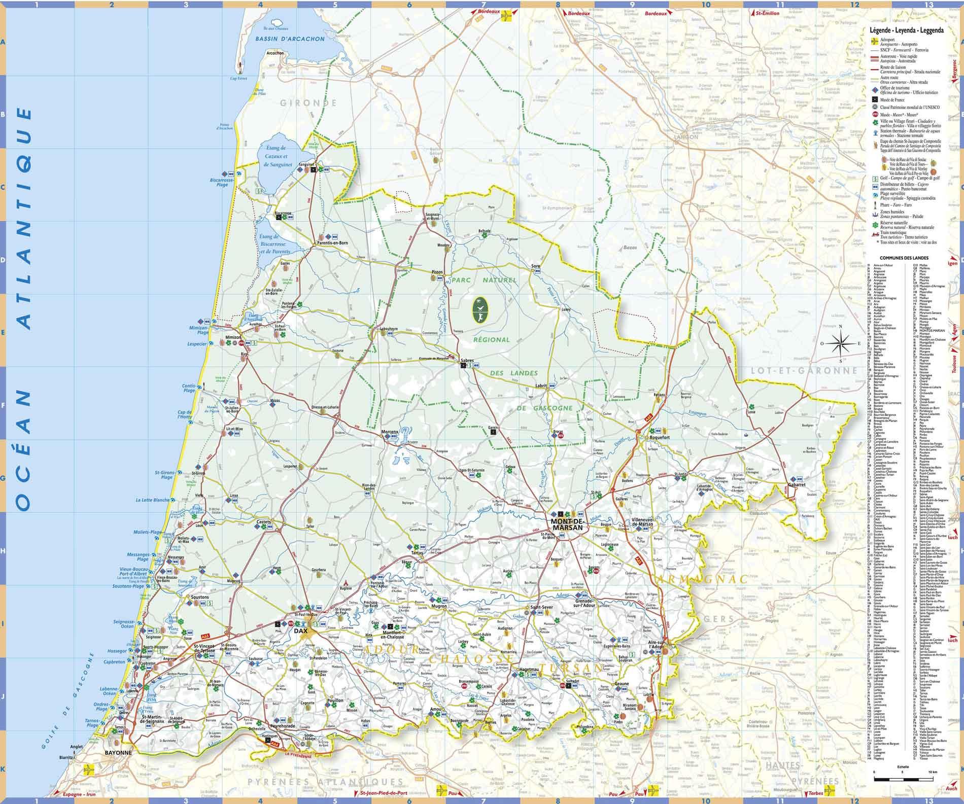 Carte Des Landes : Carte Détaillée Des Landes, Département intérieur Carte Avec Les Departement
