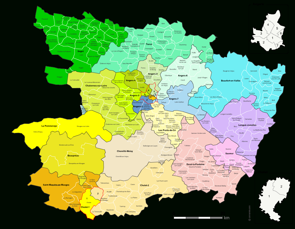 Carte Des Nouveaux Cantons Du Maine-Et-Loire Avec Villes Et encequiconcerne Carte De France Avec Départements Et Préfectures