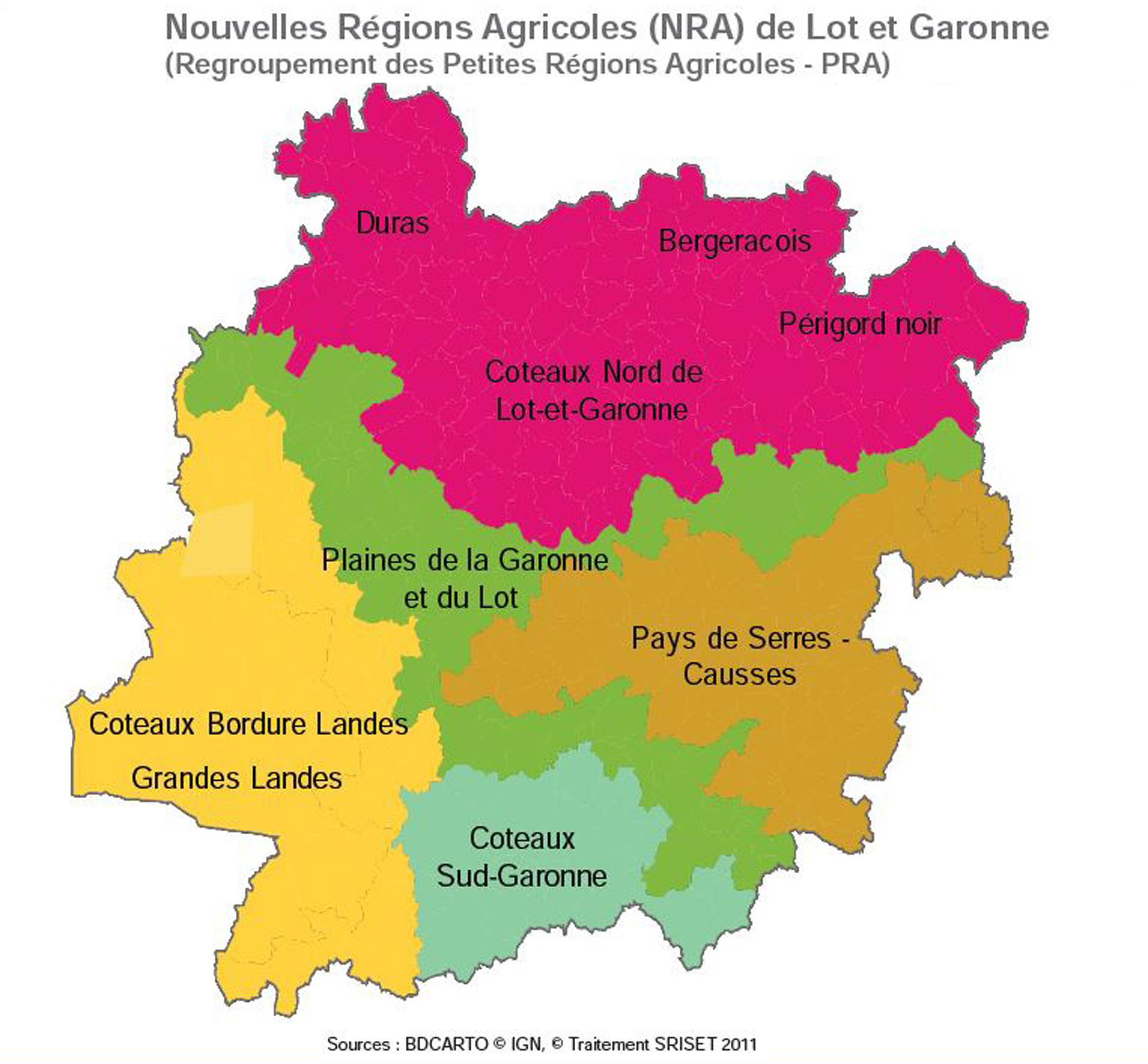 Carte Des Nouvelles Régions Agricoles De Lot-Et-Garonne intérieur Nouvelles Régions Carte