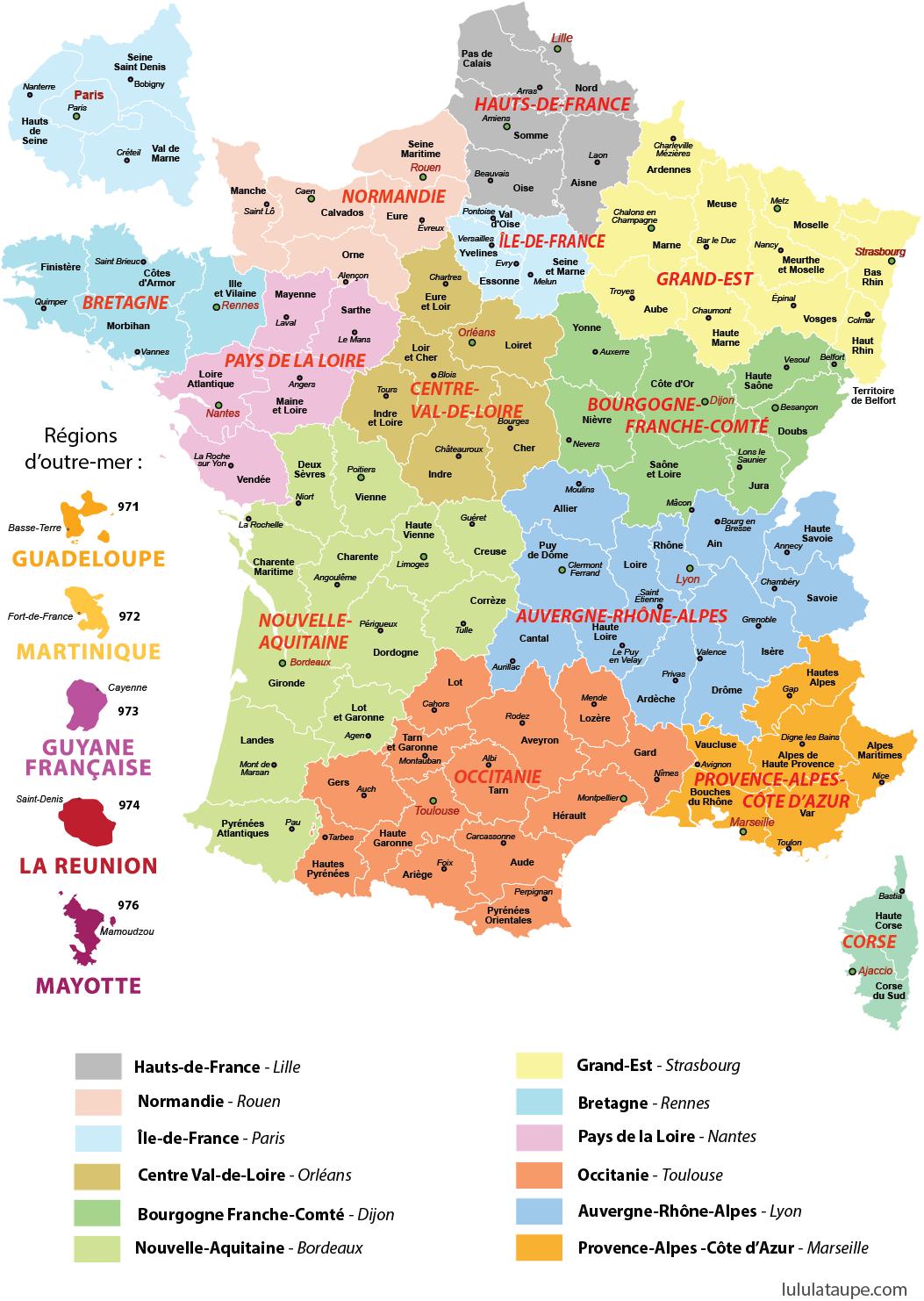 Carte Des Nouvelles Régions De France - Lulu La Taupe, Jeux serapportantà Puzzle Des Départements Français