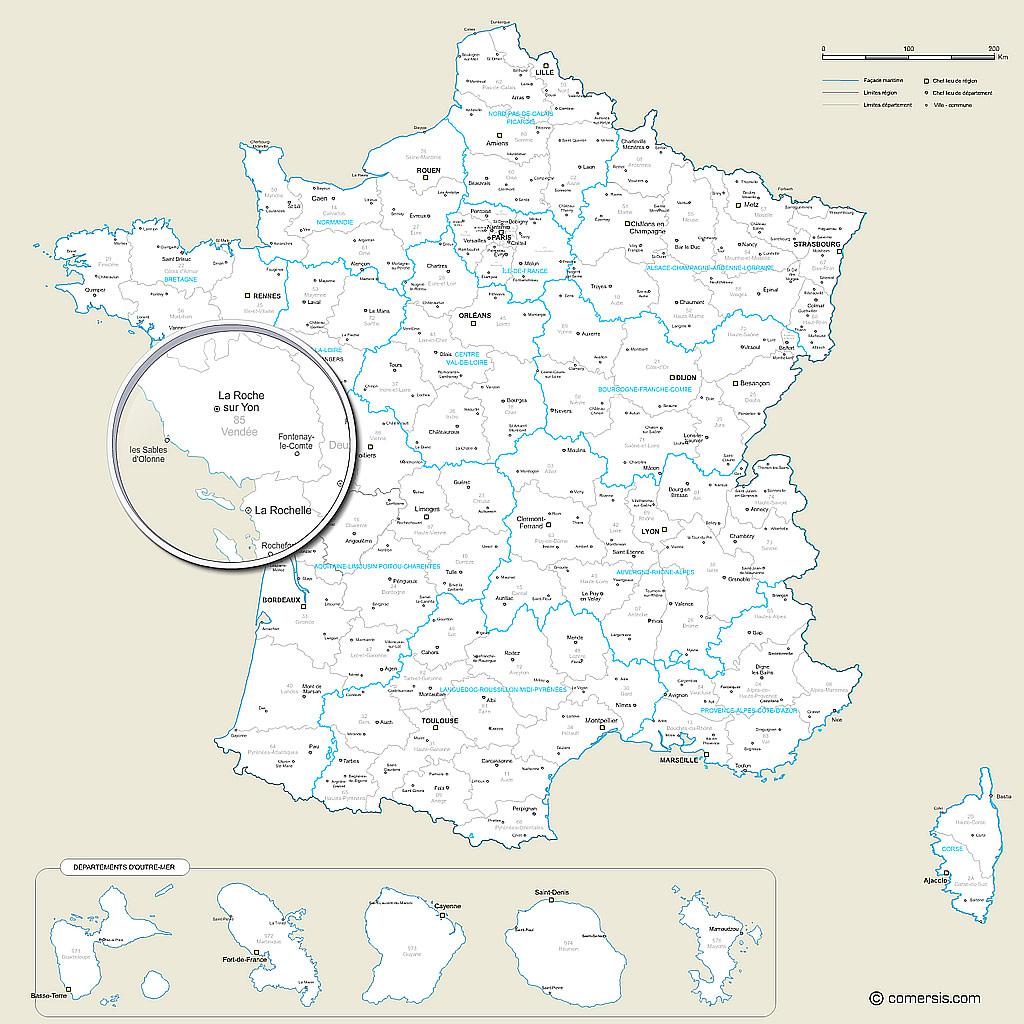 Carte Des Nouvelles Régions Et Des Départements De France pour Carte De France Nouvelle Region