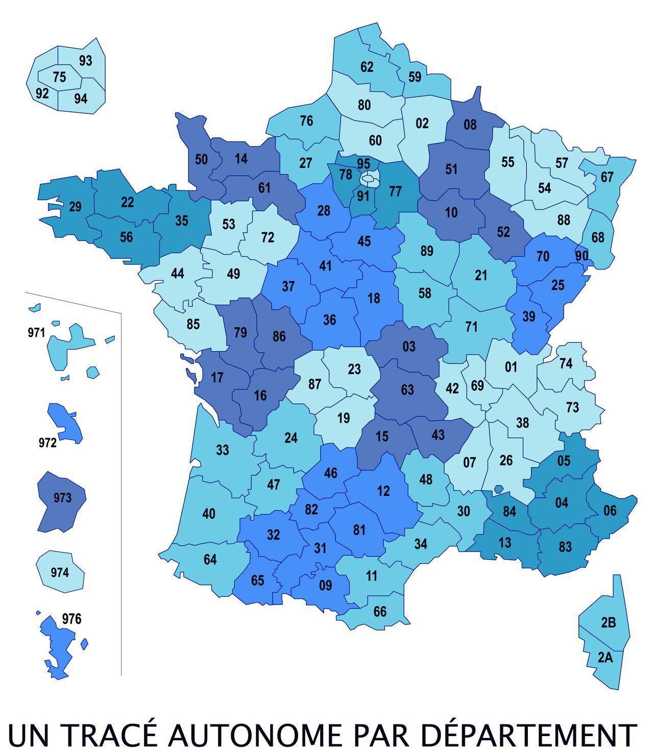 Carte Des Numéros Des Départements Français intérieur Carte Départementale De La France