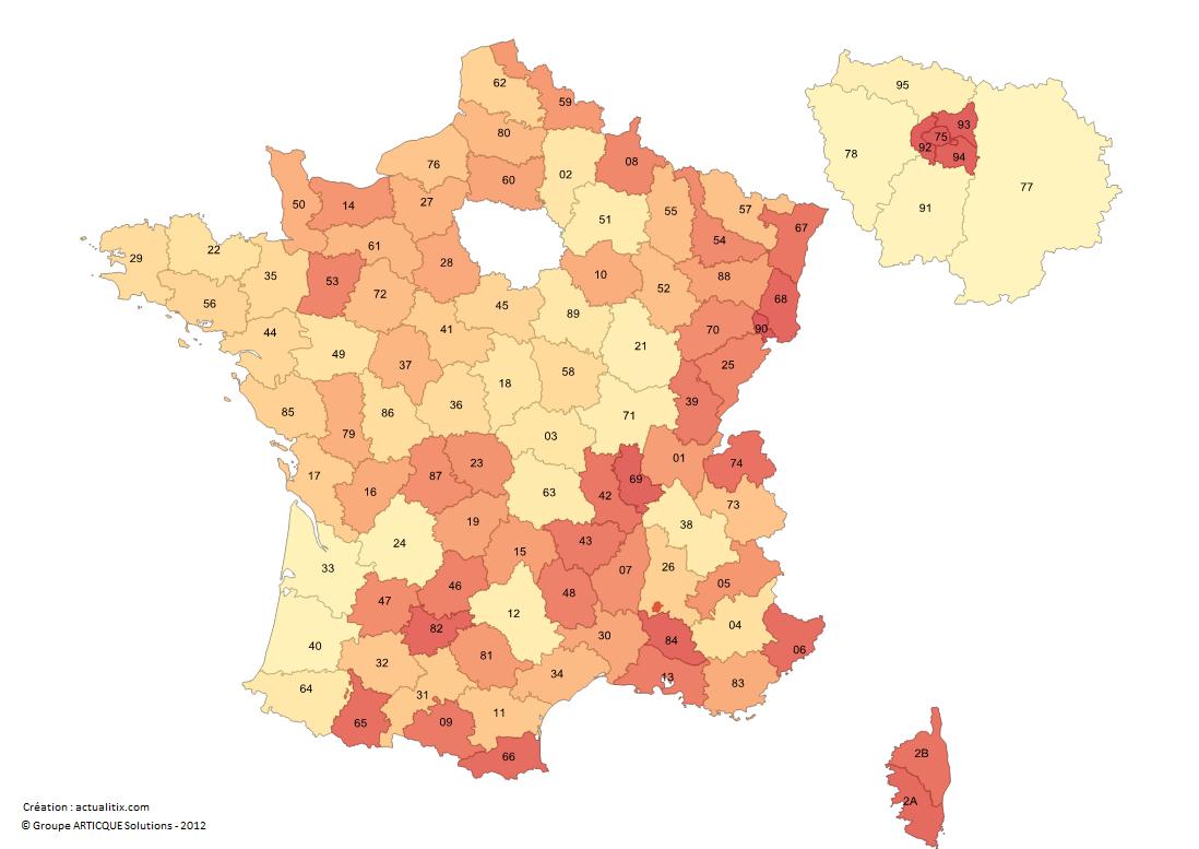 Carte Des Numéros Des Départements Français intérieur Numéro Des Départements