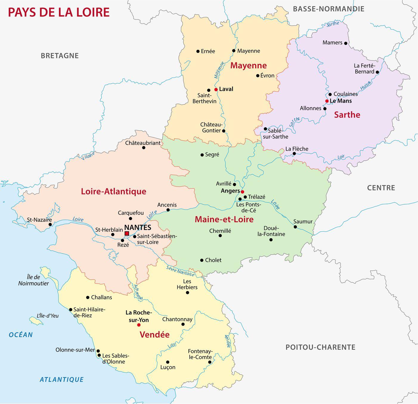 Carte Des Pays De La Loire - Pays De La Loire Carte Des concernant Carte Des Régions De France À Imprimer