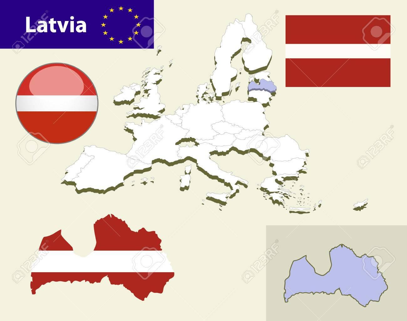 Carte Des Pays De L'union Européenne, Avec Chaque Sélectionnable Facile De  L'etat Et Modifiable. Lettonie. Glossy Button Lettonie Flag - De Vector pour Carte Des Pays De L Union Européenne