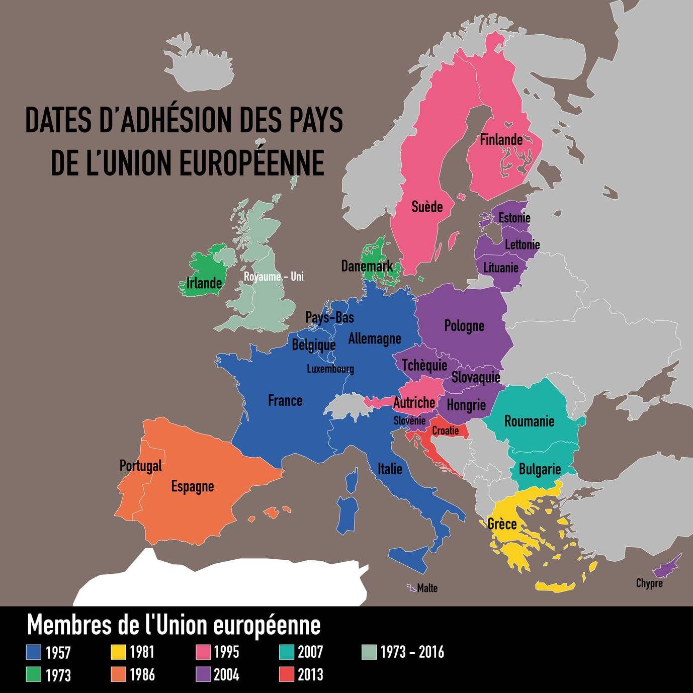 Carte Des Pays De L'union Européenne - Liste Des Pays pour Carte Union Européenne 28 Pays