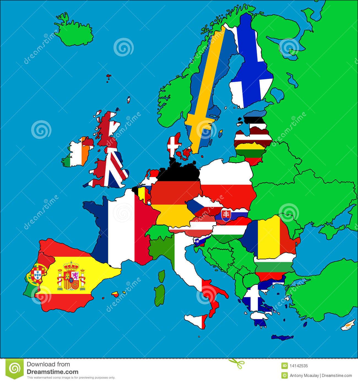 Carte Des Pays Membres D'ue Illustration Stock concernant Carte Des Pays Membres De L Ue