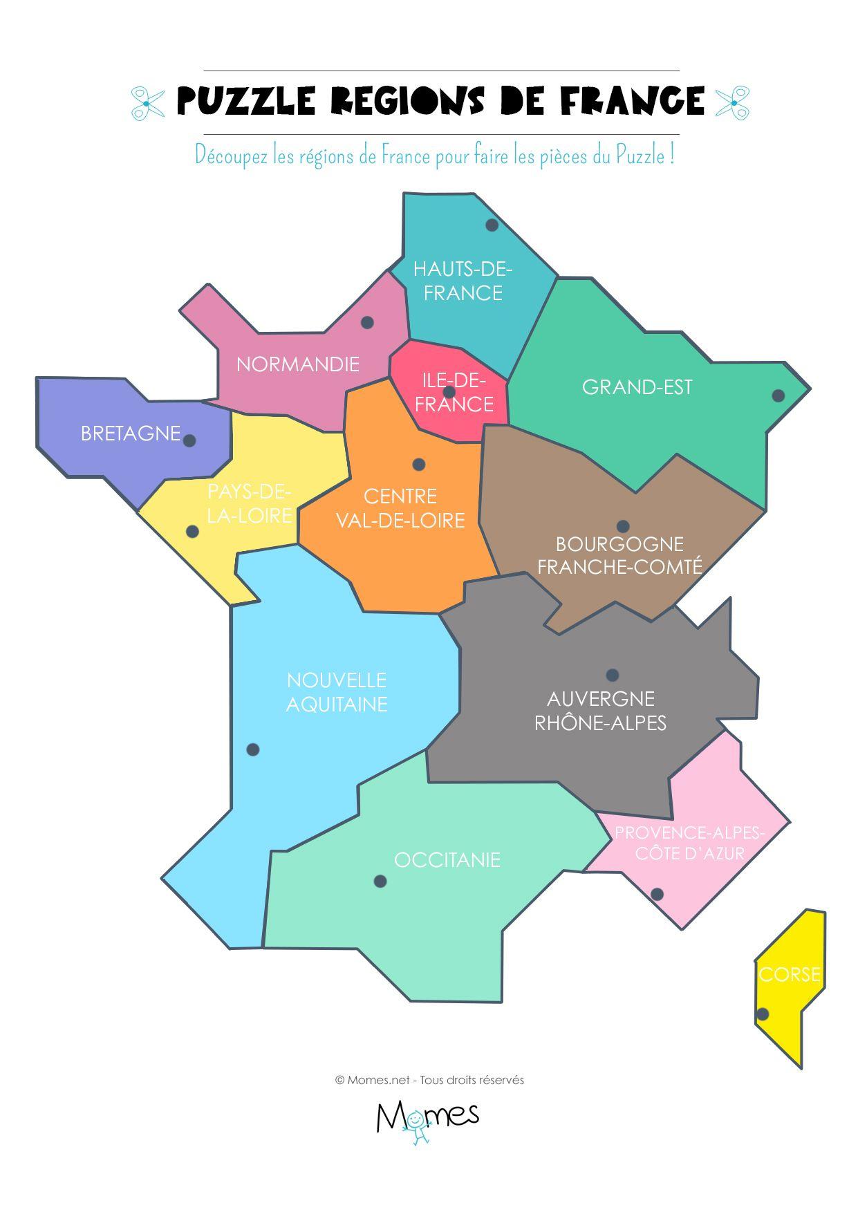 Carte Des Régions De France À Imprimer En Puzzle !   Carte pour Carte De France Avec Departement A Imprimer