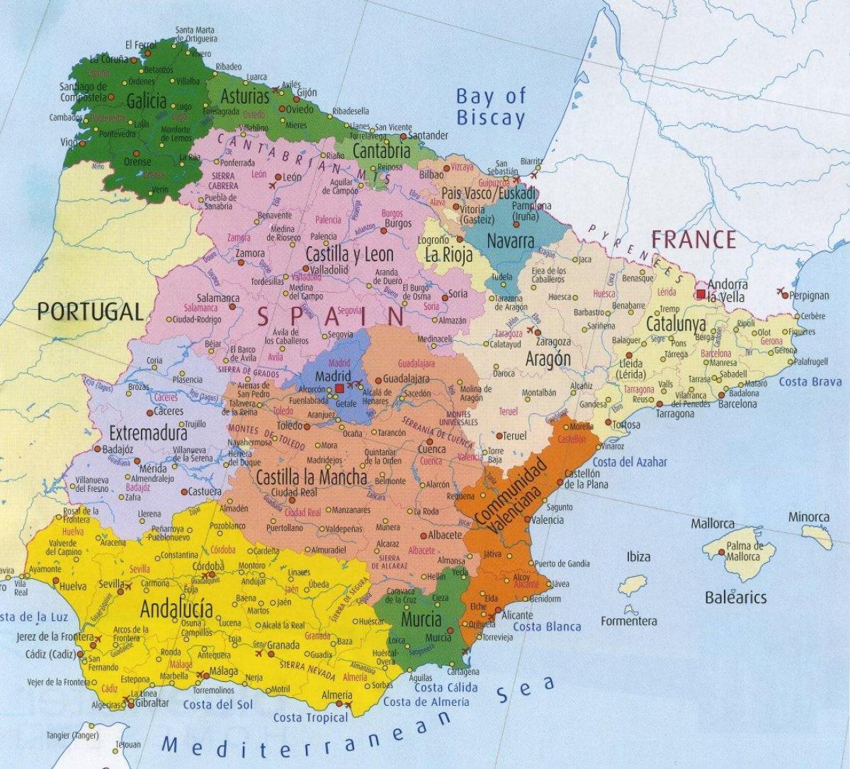 Carte Des Régions De L'espagne - Carte Détaillée De L serapportantà Carte De L Europe Détaillée