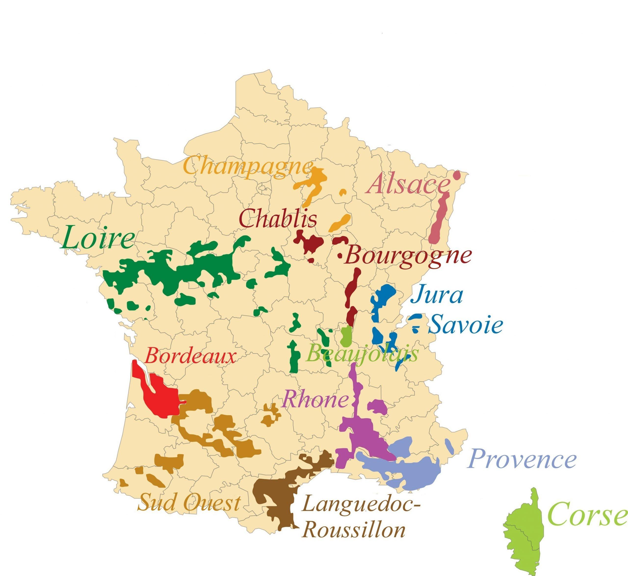 Carte Des Régions Des Vins De France - Régions Viticoles En à Liste Des Régions Françaises