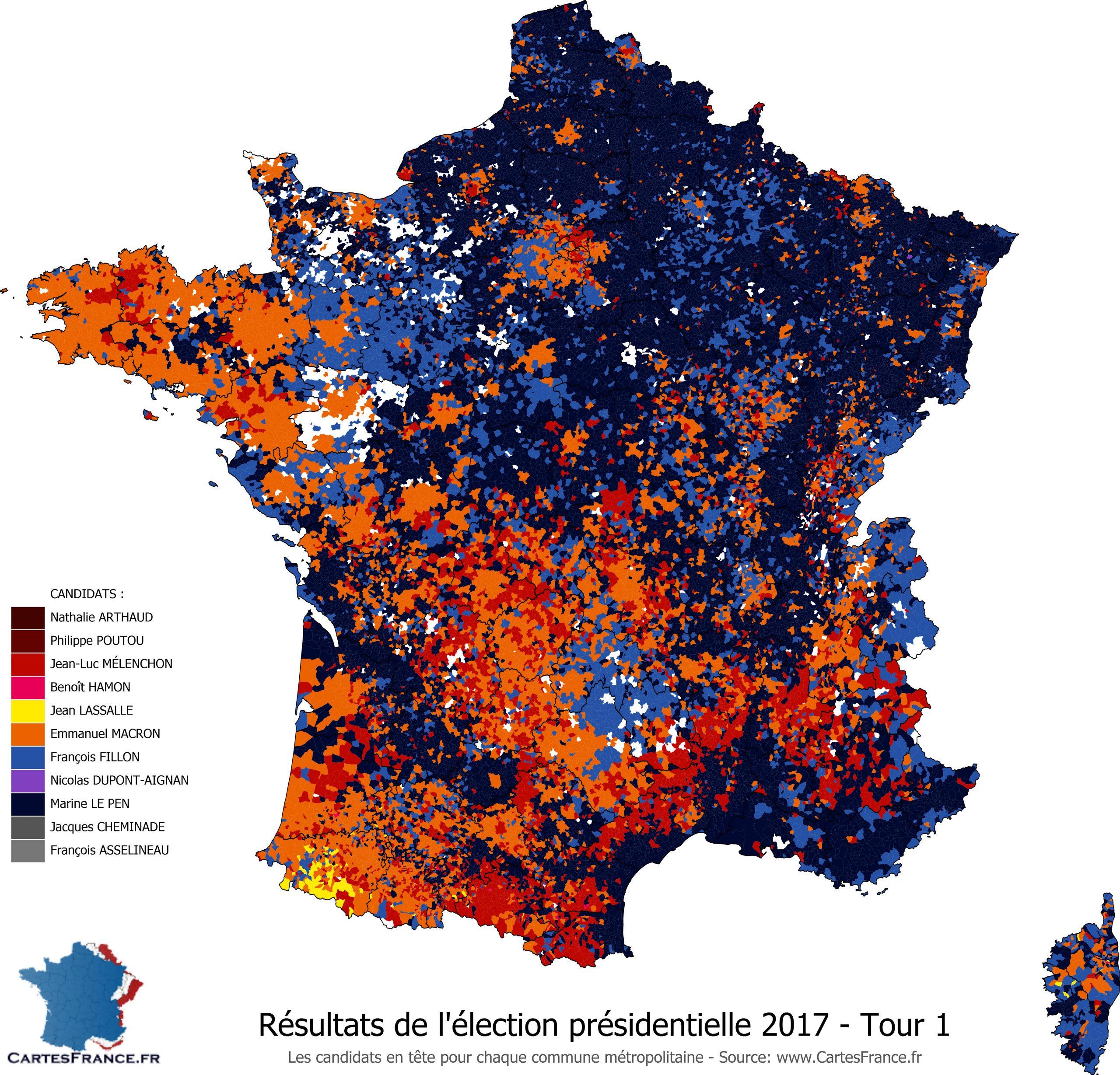 Carte Des Résultats De L'élection Présidentielle 2017 serapportantà Carte Région France 2017