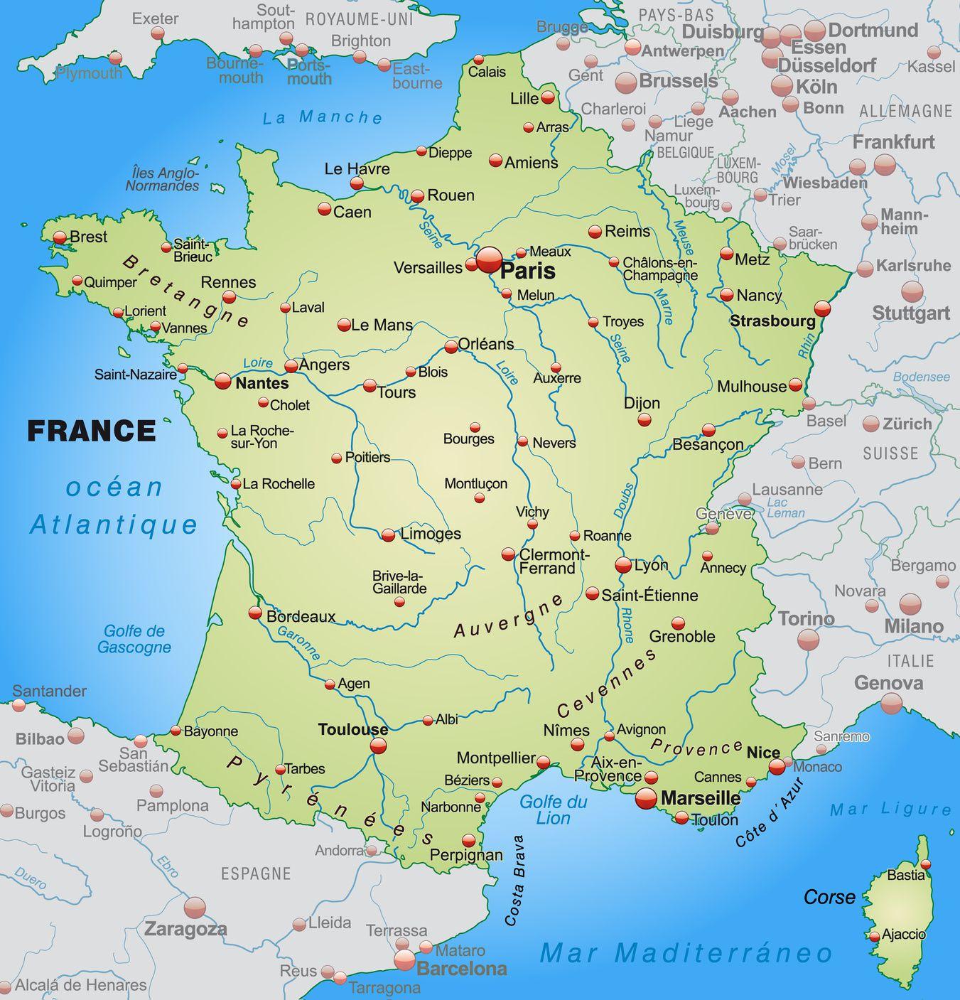 Carte Des Villes De France - Les Plus Grandes Villes Du Pays intérieur Carte De La France Avec Ville