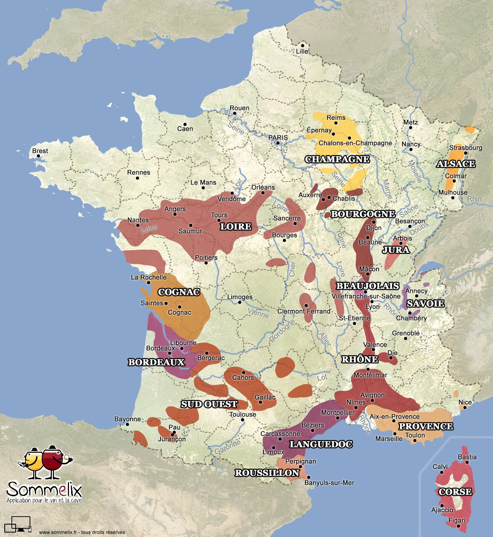 Carte Des Vins De France - Sommelix.fr serapportantà Carte De France À Imprimer Gratuit