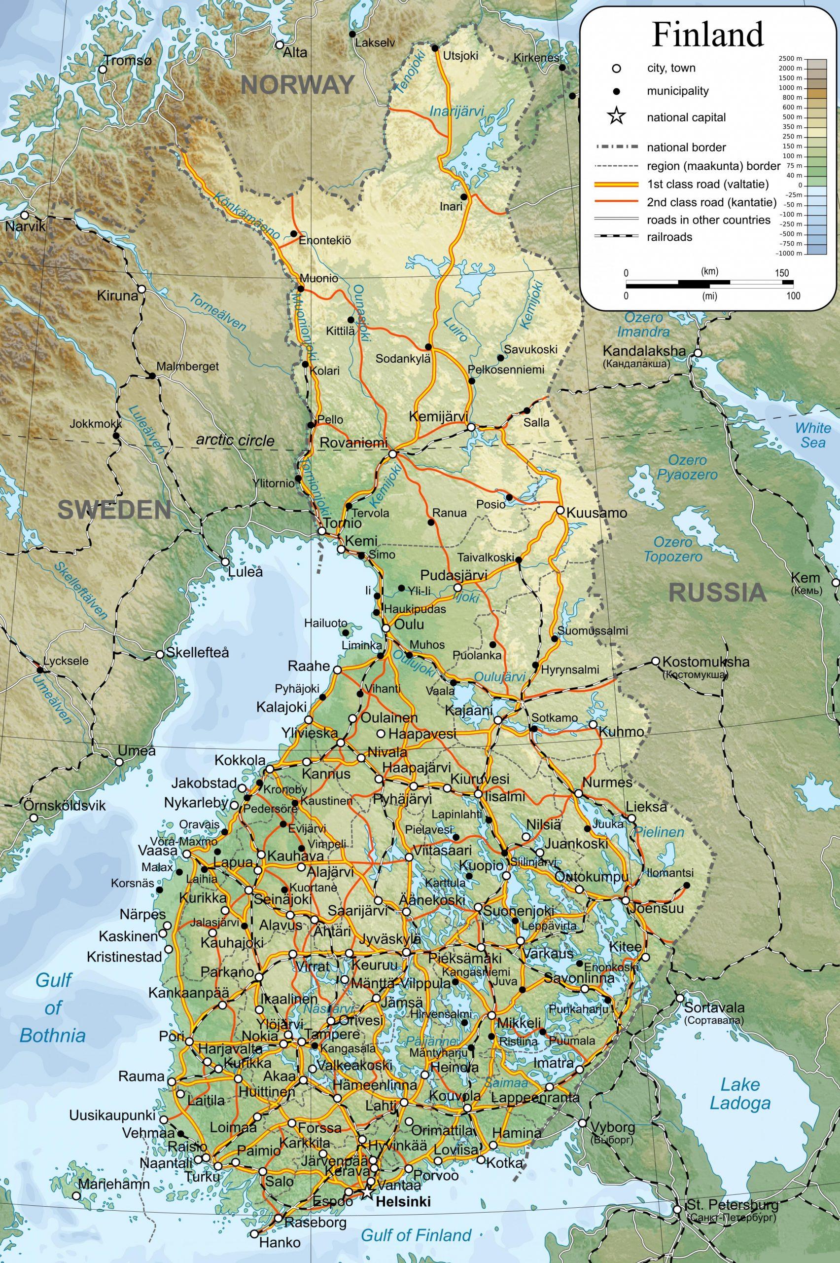 Carte Détaillée De La Finlande - Carte De La Carte Détaillée pour Carte De L Europe Détaillée