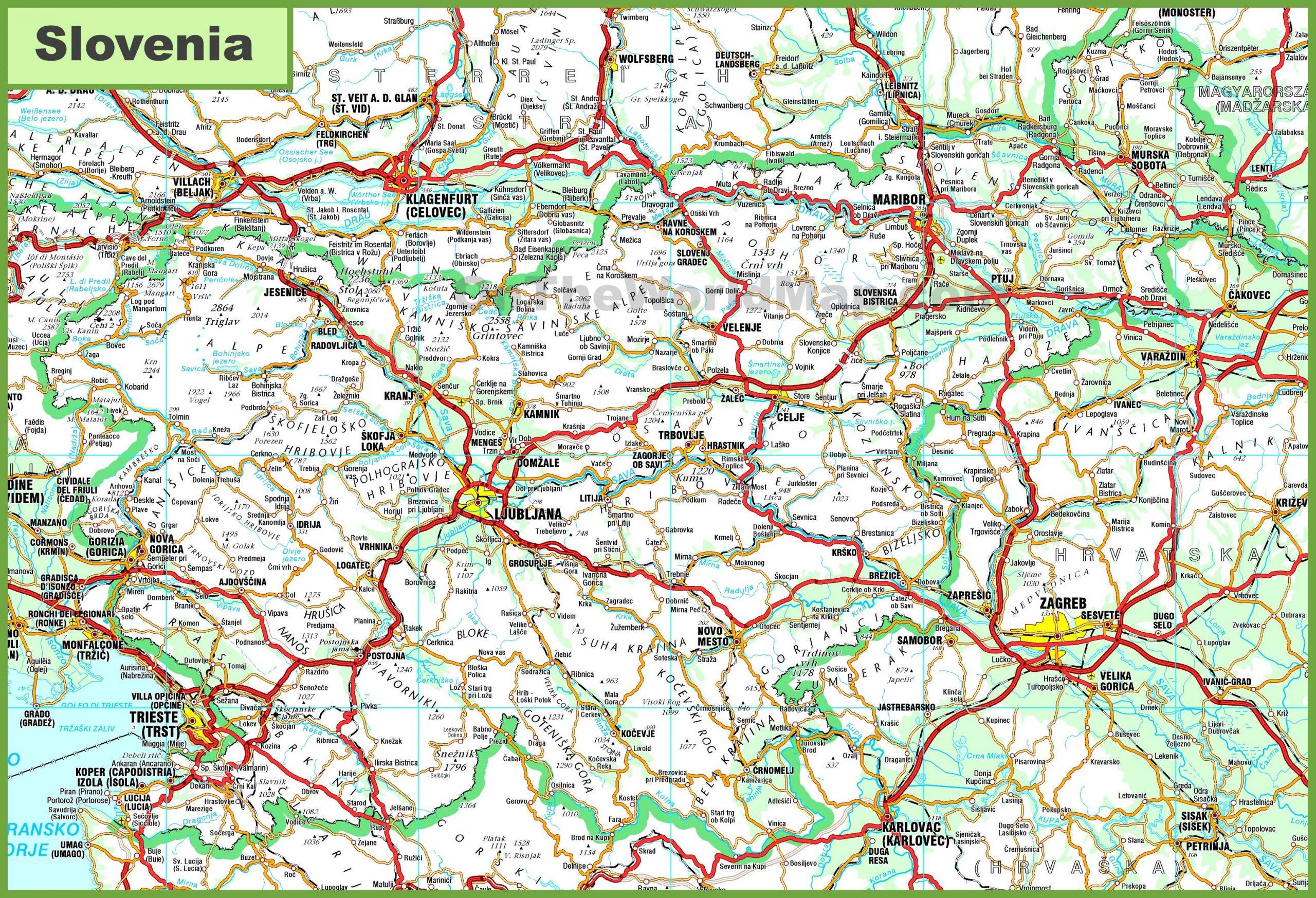 Carte Détaillée De La Slovénie - Carte Détaillée De La encequiconcerne Carte De L Europe Détaillée