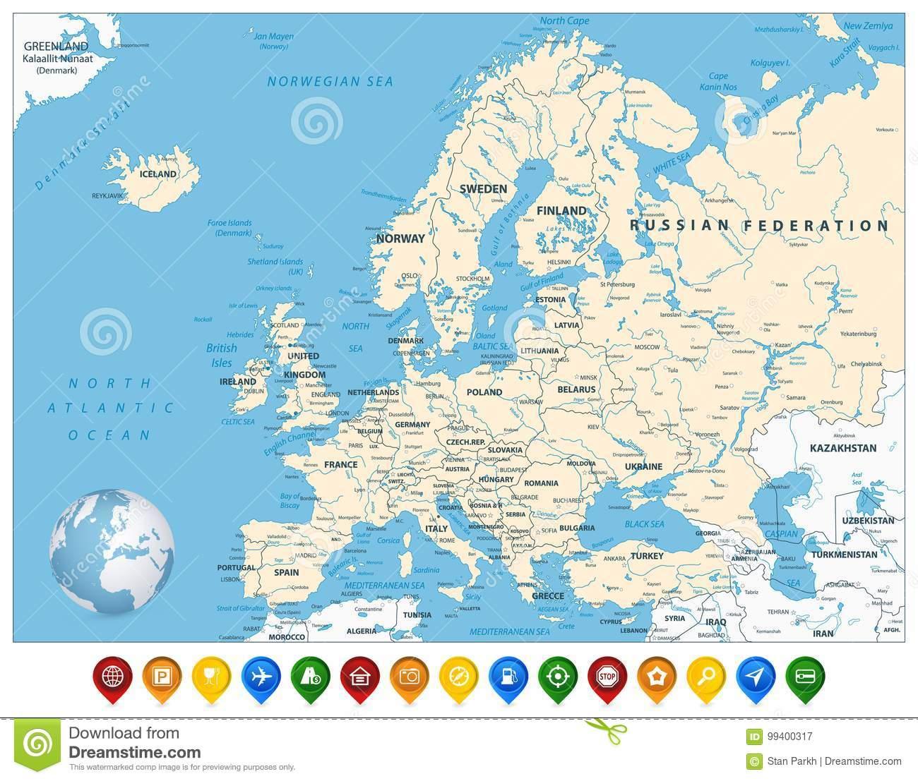 Carte Détaillée De L'europe Et Marqueurs Colorés De Carte encequiconcerne Carte De L Europe Détaillée
