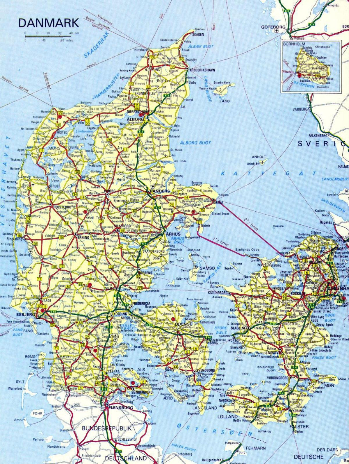 Carte Détaillée Du Danemark - Carte Détaillée De Danemark pour Carte De L Europe Détaillée
