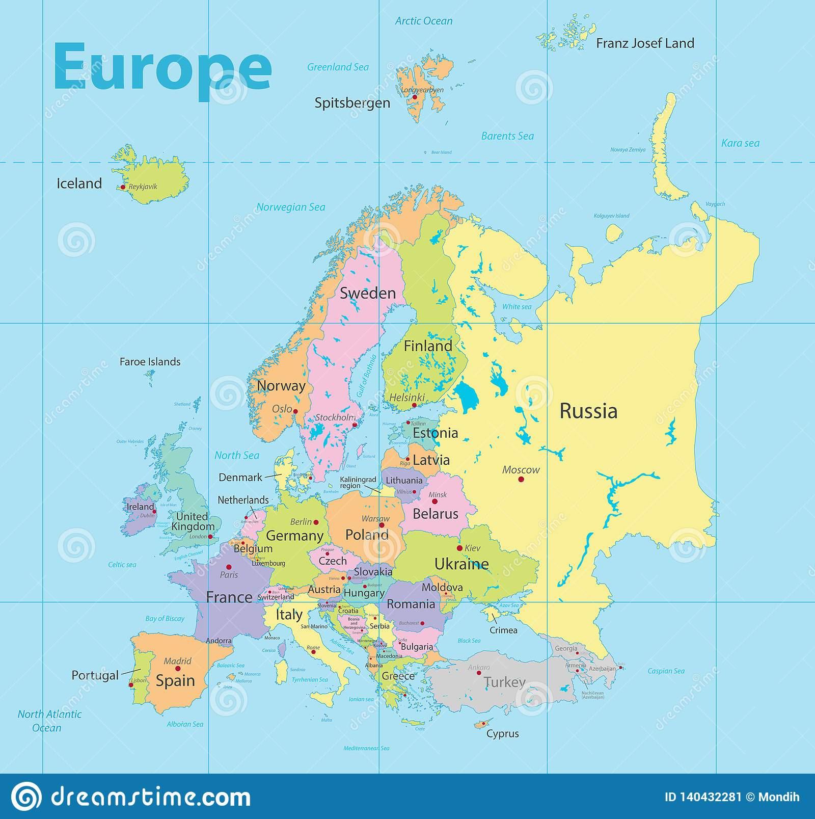 Carte Détaillée Politique Colorée Et Nouvelle De Carte De L destiné Carte De L Europe Détaillée