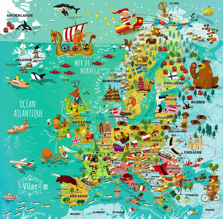 Carte D'europe | Carte Europe, Cartes Illustrées, Carte dedans Carte Europe Enfant