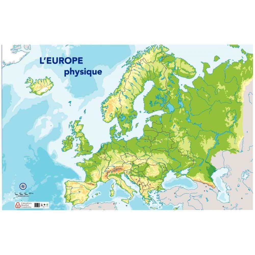 Carte D'europe Physique 120X80Cm dedans Carte Géographique Europe