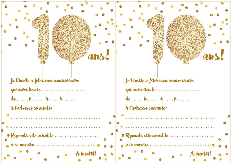 Carte D'invitation D'anniversaire 10 Ans dedans Jeux A Imprimer Pour 10 Ans
