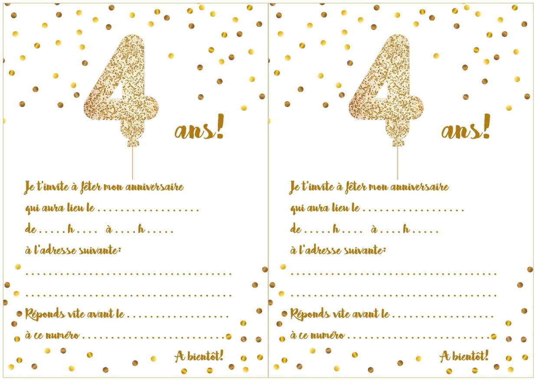 Carte D'invitation D'anniversaire 4 Ans à Jeux En Ligne Enfant 4 Ans
