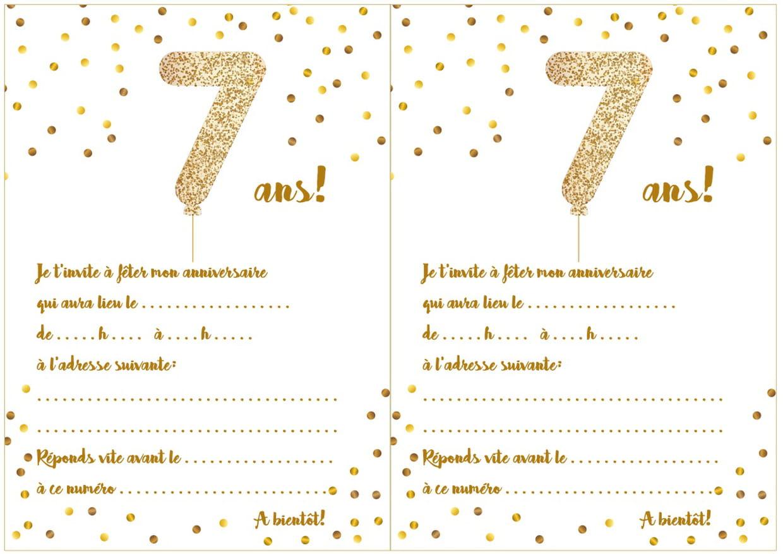 Carte D'invitation D'anniversaire 7 Ans à Jeux Pour Enfant 7 Ans