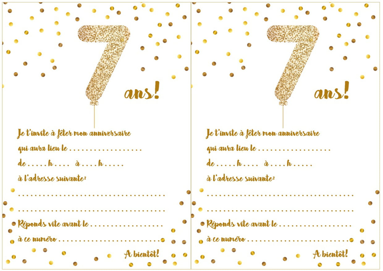 Carte D'invitation D'anniversaire 7 Ans tout Jeux Gratuits Pour Enfants De 7 Ans