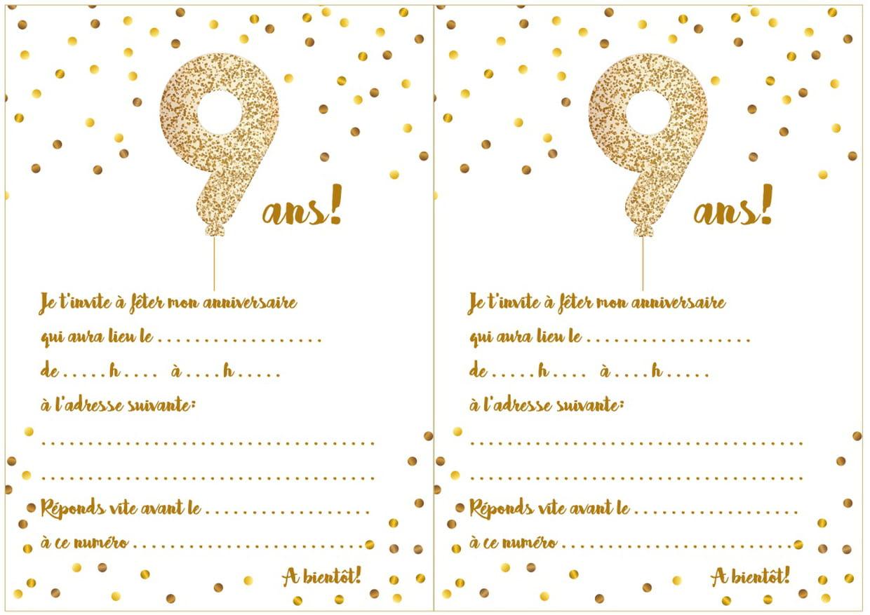 Carte D'invitation D'anniversaire 9 Ans pour Jeux À Imprimer 6 Ans