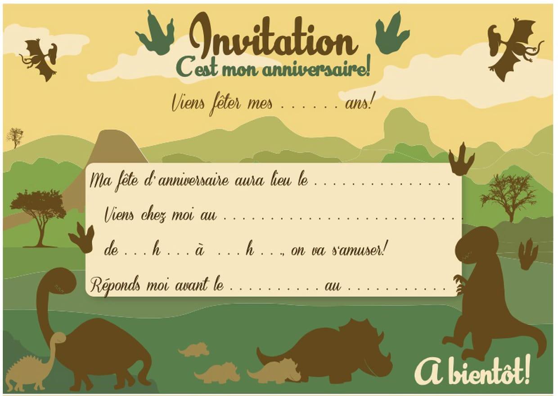 Carte D'invitation D'anniversaire Thème Des Dinosaures tout Puzzle 5 Ans En Ligne