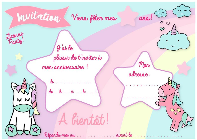Carte D'invitation D'anniversaire Thème Des Licornes intérieur Jeux À Imprimer 3 Ans
