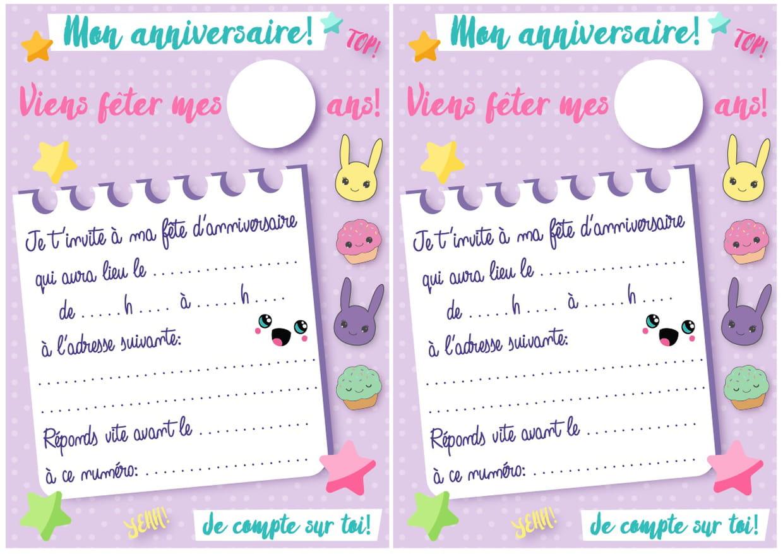 Carte D'invitation D'anniversaire Thème Kawaii tout Calendrier Des Anniversaires À Imprimer
