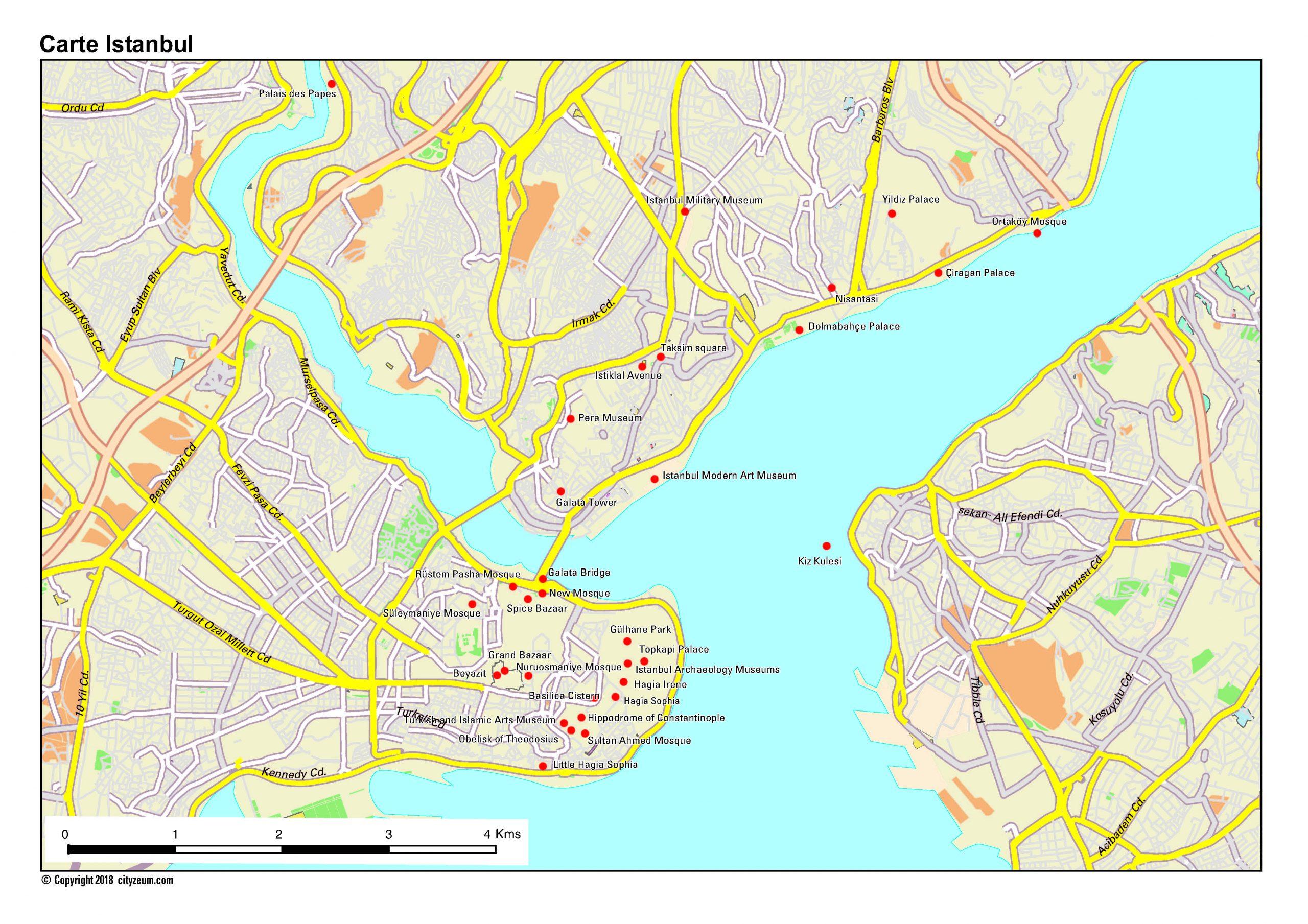 Carte D'istanbul Plan Des 22 Lieux À Voir intérieur Carte D Europe À Imprimer