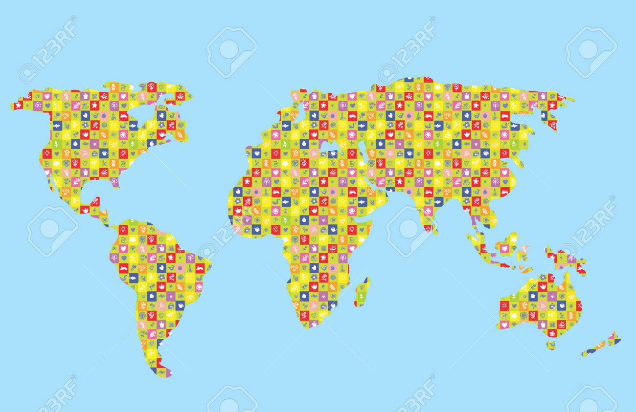 Carte Drôle De Monde Pour Les Enfants Avec Motif à Carte Du Monde Pour Enfant