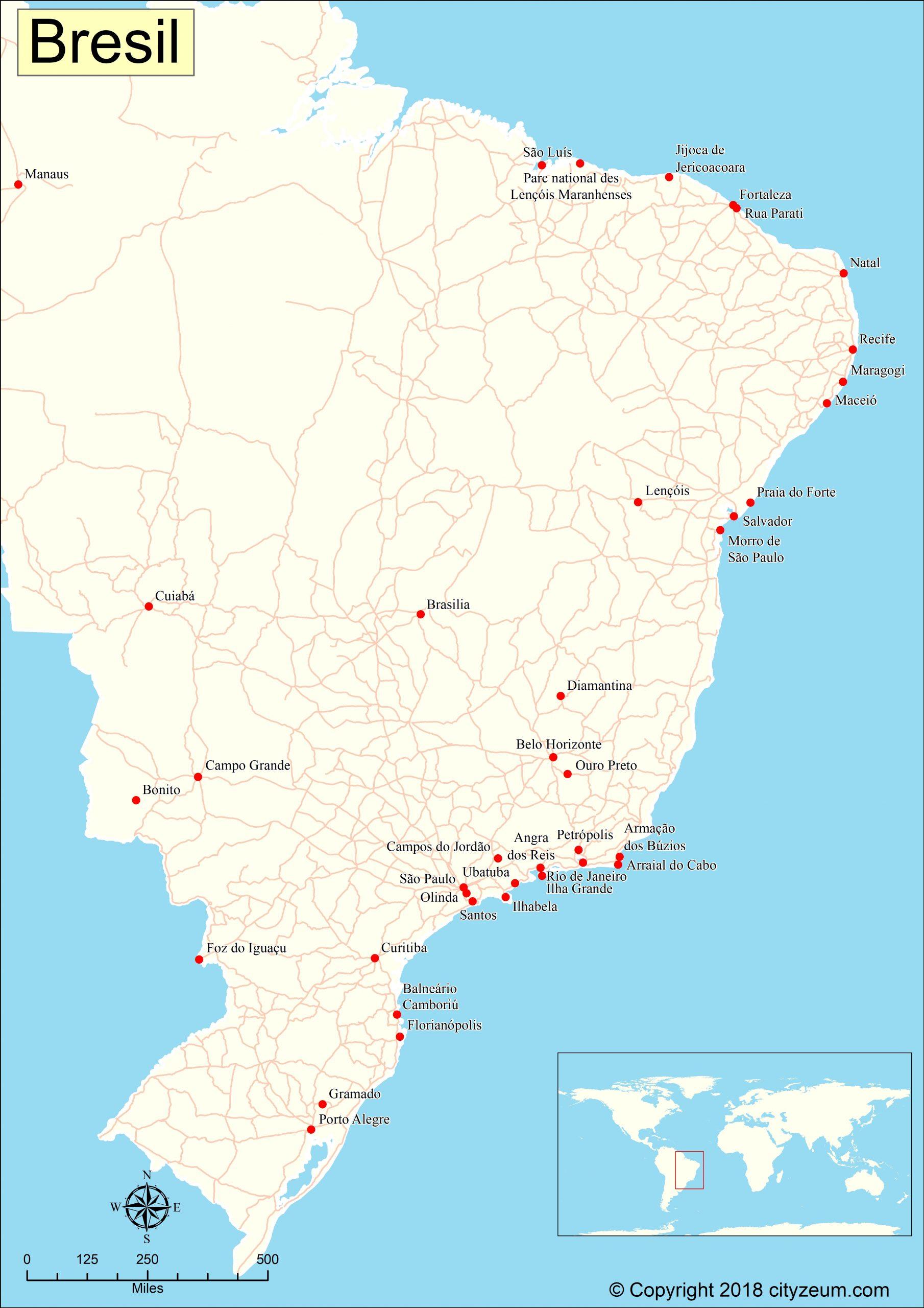 Carte Du Brésil Plan Des 29 Lieux À Voir avec Carte De France Detaillée Gratuite