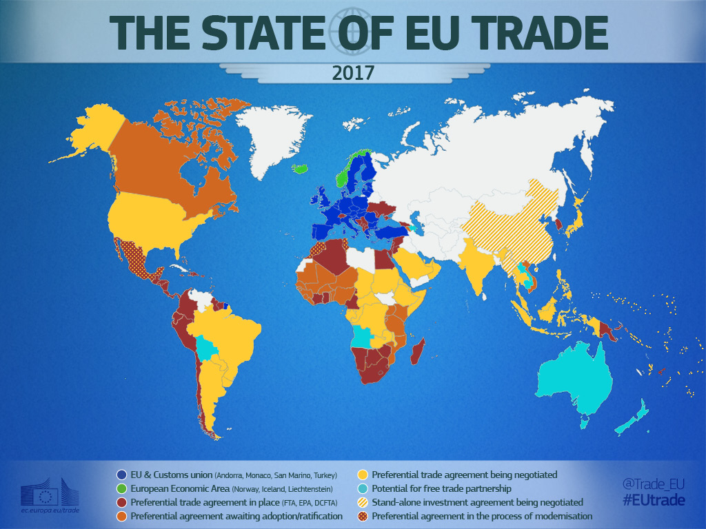 Carte Du Commerce De L'ue - Consilium tout Carte De L Europe 2017