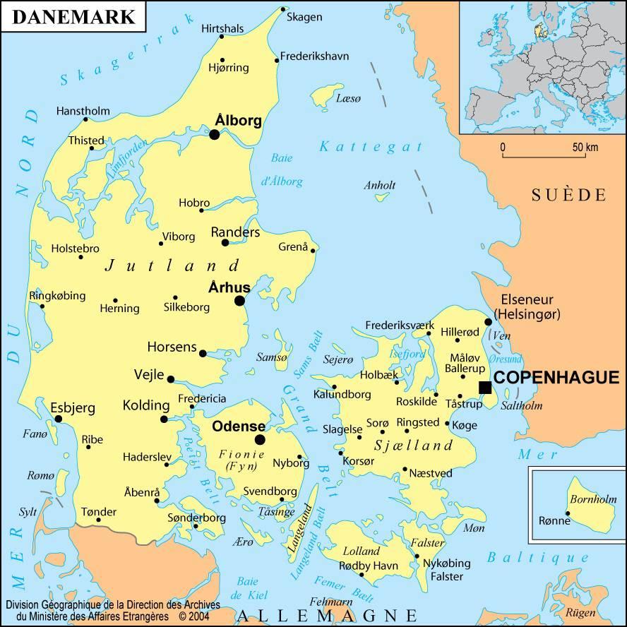 Carte Du Danemark - Cartes Du Reliefs, Des Villes tout Carte Europe Sans Nom Des Pays