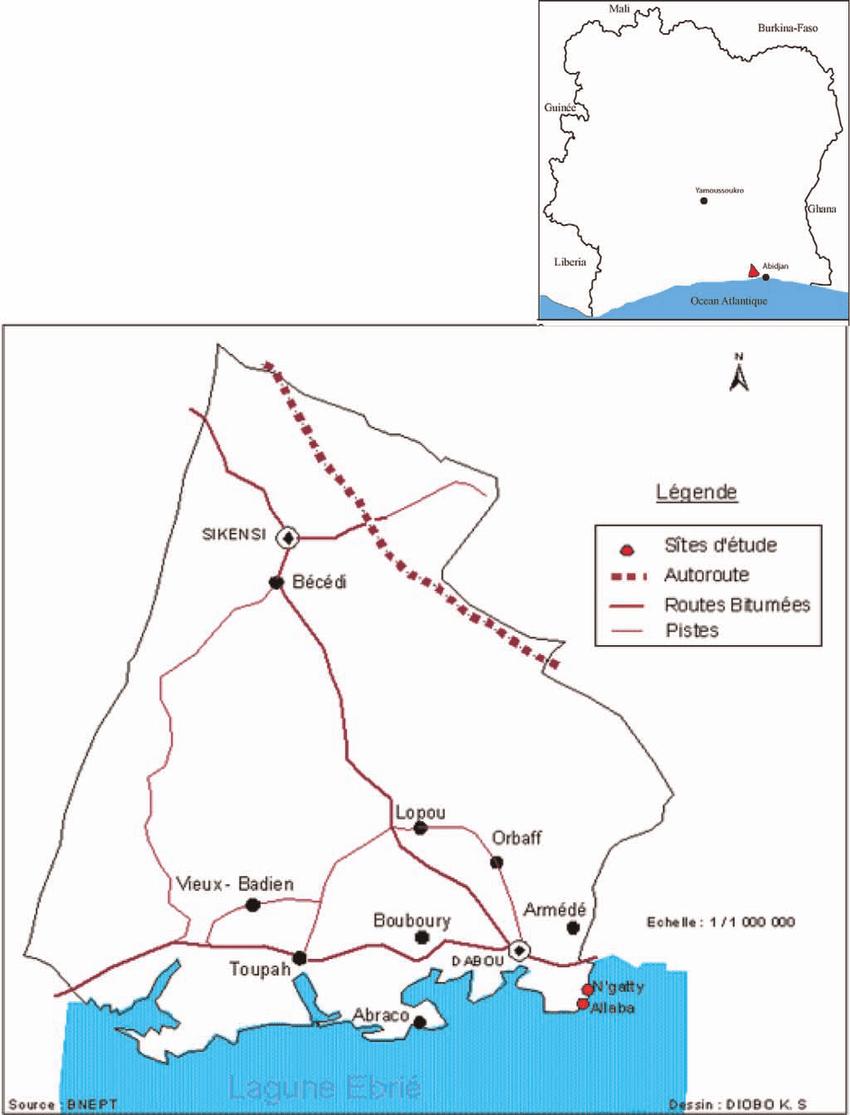 Carte Du Département De Dabou Avec La Localisation Des Sites intérieur Carte Avec Departement