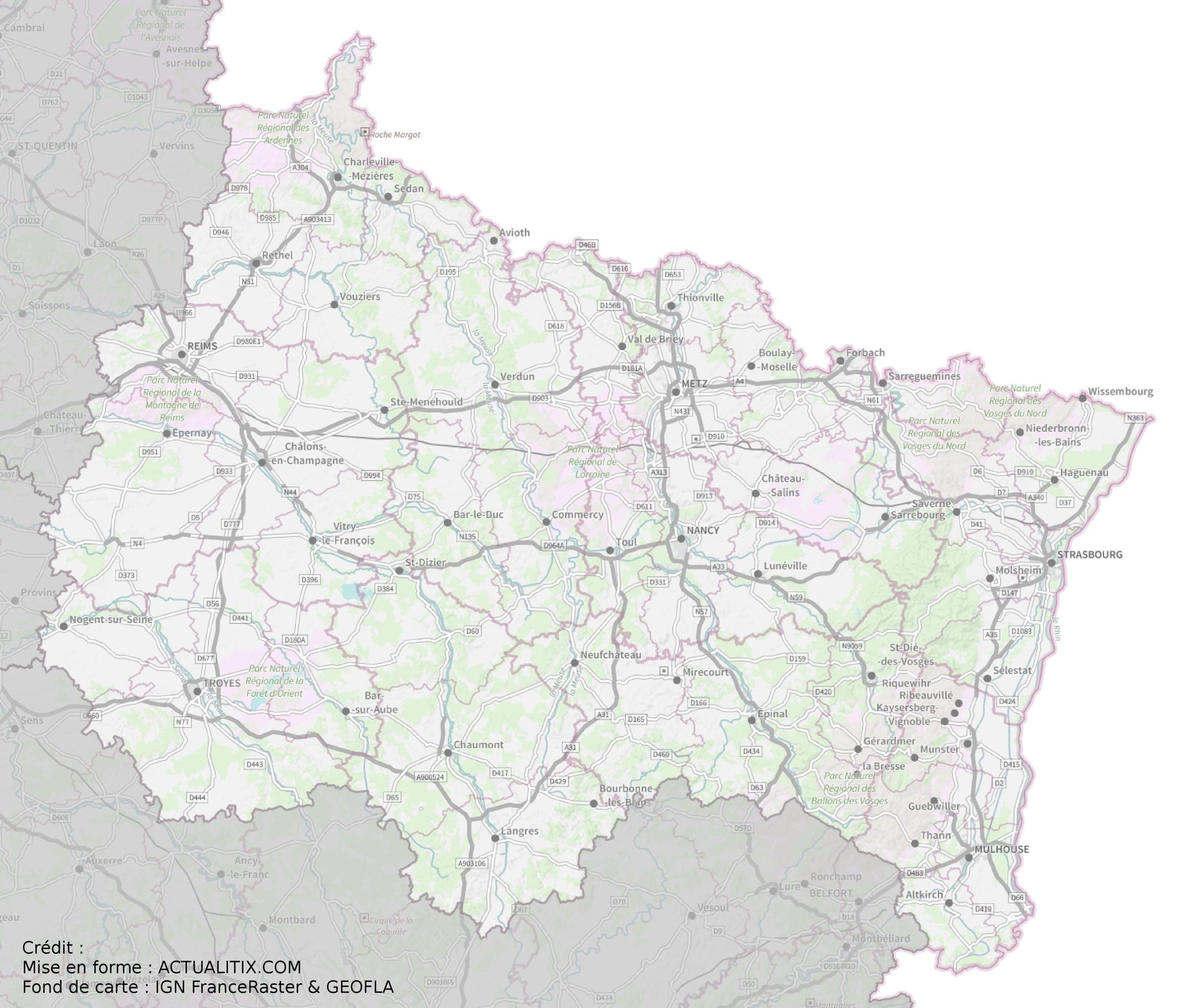 Carte Du Grand Est - Grand Est Carte Des Villes destiné Carte Departement Numero